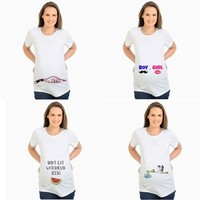 Maternity Tops Boys Moustache or Girls Lips t-shirt for pregnant women summer t shirt pregnancy clothes funny tees short sleeve