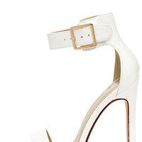 My Delicious Canter White Patent Ankle Strap Heels