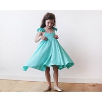 Mint -Turquoise Girls Butterfly Dress 5003