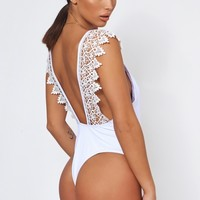 Laria White Crochet Backless Swimsuit - The Fashion Bible from The Fashion Bible UK