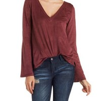 Red Faux Suede Bell Sleeve Top by Charlotte Russe