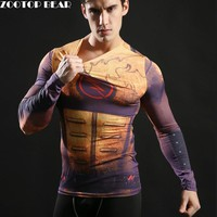 Hot 2017 Superhero Superman/Batman/Spiderman Men Long Sleeve T Shirt Compression Tights Tops Fitness T-shirt