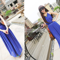 Women's Fashion Loose Spaghetti Strap Chiffon Wide Leg Pants Maxi Jumpsuit C99D