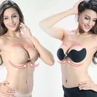 Strapless Invisible Push Up Adhesive Silicone Bra,Size S/M/L = 1705672516