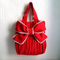 $52.00 Pleated shoulder bag tote bag beautiful cherry red by CheriDemeter