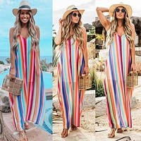 2020 new arrival women's sexy loose gradient color long skirt suspender dress