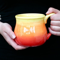 Tequila Sunrise Ombre Fire Mug - Red Orange Yellow Neon Bright Gradient - Coffee Tea Latte Spring Gift - Hand Painted - Made To Order