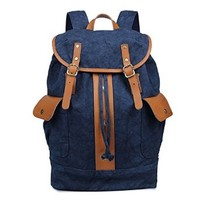"Plambag Vintage Canvas Leather Travel Backpack 14"" Laptop Rucksack School Bag"