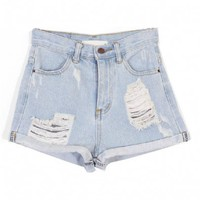 Roll Up Hem Denim Shorts with Distressed Details