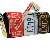 LICENSE PLATE MAILBOX   Recycled Handmade Mailbox From Vintage License Plates by Aaron Foster   UncommonGoods