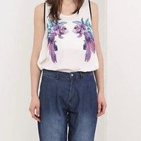 White Fish Print Sleeveless Chiffon Shirt