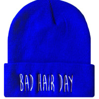 BAD HAIR DAY Cuffed Beanie Hat Hip Hip Dope Beanies Cap Royal Blue