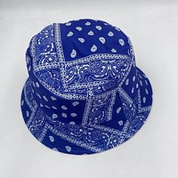 Blue 100% Cotton Paisley Bucket Hat Vintage Bandana Basin Hat