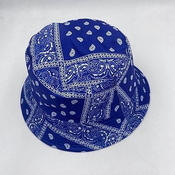 Blue Paisley Bandana  Bucket Hat