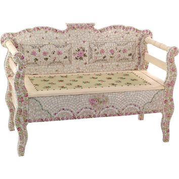 Bed of Roses Mosaic Bench