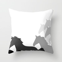 HORSE PLAY Throw Pillow by the artist J©