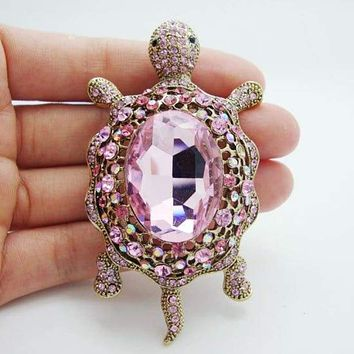 Vintage Fashion Style Tortoise Animal Pink Rhinestone Crystal Art Deco Brooch Pin