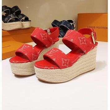 LV Louis Vuitton OFFICE QUALITY Women's Leather High-heeled Sandals