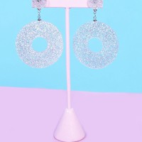 Clear Glitter Dangle Earrings
