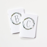 Personalized Journal   Monogram Notebook with Illustrated Floral Pattern : Garden Wreath Collection