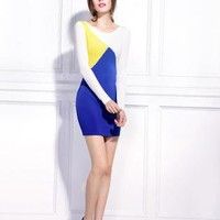 Starry Splicing mixed colors Dress blue