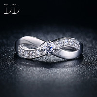 High quality princess white gold plated cubic zirconia diamond jewelry hollow out wind wave rings for women anel  DD023