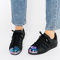 adidas Originals Black Superstar Trainers With Holographic Metal Toe Cap at asos.com