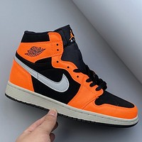 Air Jordan 1 AJ1mid personality orange high-top sports basketball shoes