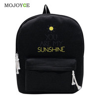 Mojoyce Letter Canvas Backpacks Women Backpack