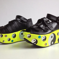 Yin Yang and Happy Face Holographic Custom Neon Platform Buckle Strap Flatforms // 6.5 - 7