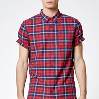 Plaid Side Zip Long Button Up Shirt