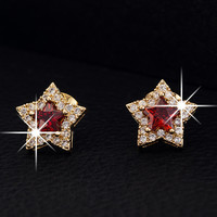 Red Crystal Embellished Star Earrings