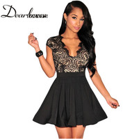 Vestidos verano mujer Summer Black White Lace Nude Illusion Key-Hole Back Short Sleeve Ladies Mini Skater Dress LC22113