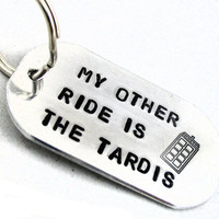Doctor Who Inspired Key Chain, My Other Ride is the Tardis - Hand Stamped Large Keychain with Police Box Design -