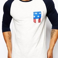 ASOS 3/4 Sleeve T-Shirt With Contrast Sleeves And Stars & Stripes Pock