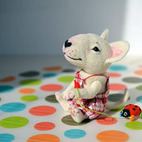 Needle felted white Bull terrier puppy with ladybird. Little felt dog. Sweet animal. Funny toy. Birthday gift.