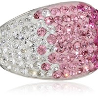 Sterling Silver Faded Pink Dome with Swarovski Elements Ring, Size 7