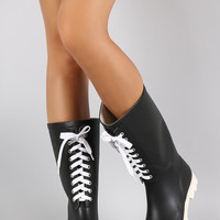 Lace Up Round Toe Rubber Rain Boots