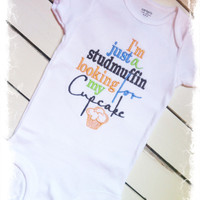 Boys Applique Bodysuit-Embroidered Saying One Piece-Studmuffin Cupcake Saying -Baby Boys Clothes-Baby Shower Gift