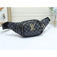 Samplefine2 LV fashion hot selling men and women printed casual cross Fanny pack Black lattice