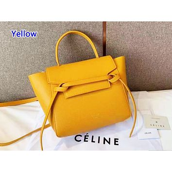 Celine sells casual lady shopping bag with pure color and fashionable shopping bag Yellow
