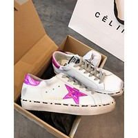 Golden Goose Ggdb Hi Star Sneakers With Fuchsia Laminated Star