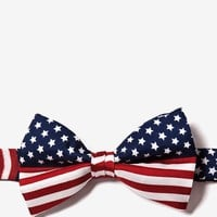 Navy Blue Silk American Flag Pretied Bow Tie   Ties.com - Free Shipping on $45