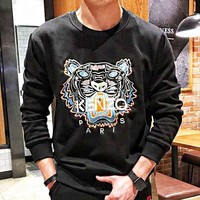 KENZO luminous tiger head embroidery plus velvet round collar warm sweater fashion trend with men's and women's casual pullover