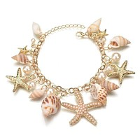 Mermaid's Collar Seashell & Starfish Gold Plated Necklace or Bracelet For Woman