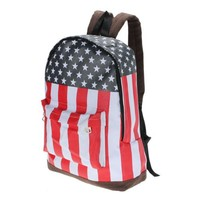 Canvas American US Flag Backpack Shoulder Bag Rucksack School Satchel Handbag