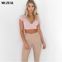 MUZEAL Deep V Neck Lady Crop Top Lace up Hollow Out See Through Back Sexy Girls Party Night Club Short Sleeve Belly Shirts 141