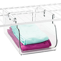 mDesign Wire Shelving Organizer, Closet or Pantry Hanging Storage Bin - Small, Clear