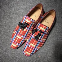 KUYOU Roller Boat CL shoes for men and women with Christian Louboutin red sole and classic rivet