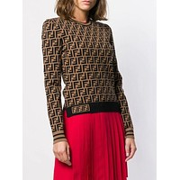 Fendi Women Round Neck Top Sweater Pullover Sweater